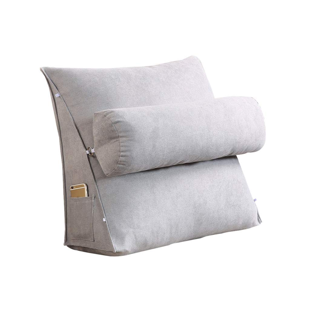Lil Band Head Pillow Triangle Cushion, Sofa Office Bay Window Lumbar Pillow/Lumbar Support Waist/Pillow (can Be Adjusted in Three Steps) (Color : Gray, Size : 45x45x20cm)