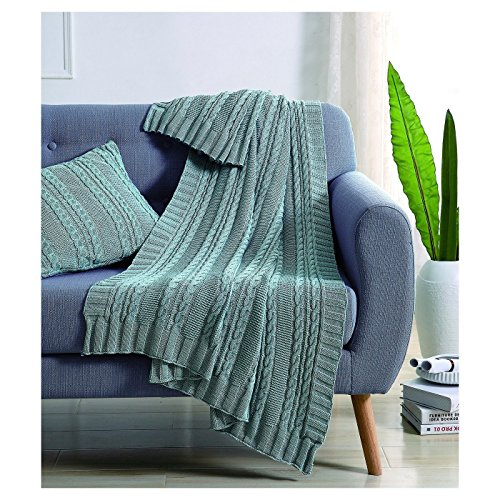 VCNY Home DUI-THR-5070-BB-S1 Dublin Cable Knit Throw, 50x70, Spa/Blue