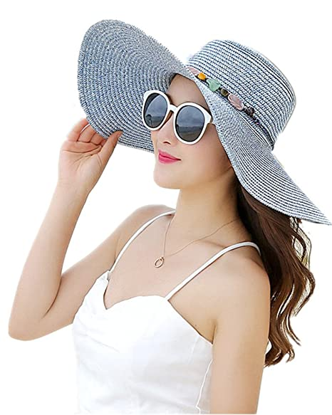 7da49ed651767 Amao Womens Big Bowknot Straw Hat Floppy Foldable Roll up Beach Cap Sun Hat  UPF 50