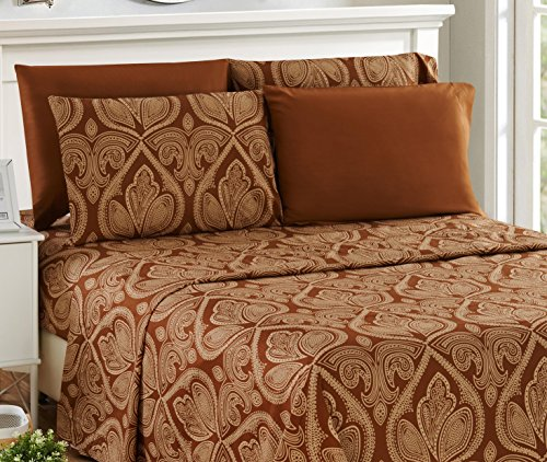 6 Piece: Paisley Printed Bed Sheet Set 1800 Count Egyptian Quality HOTEL LUXURY Flat Sheet,Fitted Sheet with 4 Pillow Cases,Deep Pockets, Soft Extremely Durable by Lux Decor (Queen, Brown) (Paisley Fitted Sheet)
