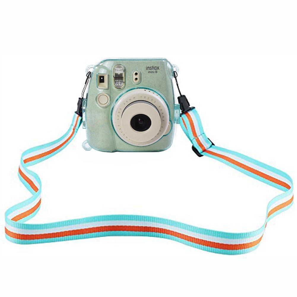 SAIKA con correa ajustable PVC y cristal Funda protectora para c/ámara Fujifilm Instax Mini 9//8