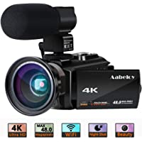4K Camcorder, Aabeloy Vlogging Video Camera Ultra HD Wi-Fi Digital Camera 48.0MP 3.0 inch Touch Screen Night Vision 16X Digital Zoom Recorder with External Microphone and Wide Angle Lens,2 Batteries