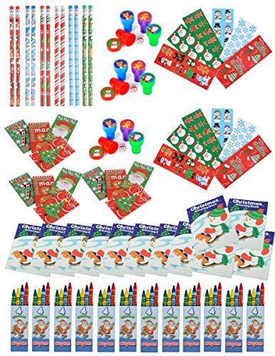72 Piece Bulk Christmas Holiday Themed Party Favor and Activity Kit Assortment for Kids Parties or - Party Christmas Favors