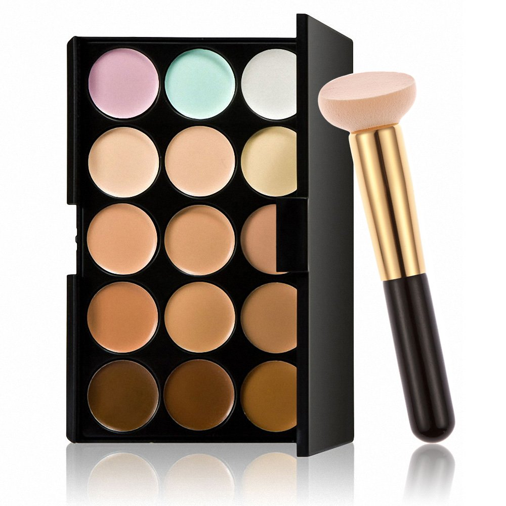 Professional 15 Colors Contour Face Cream Makeup Concealer Palette + Powder Brush Generic
