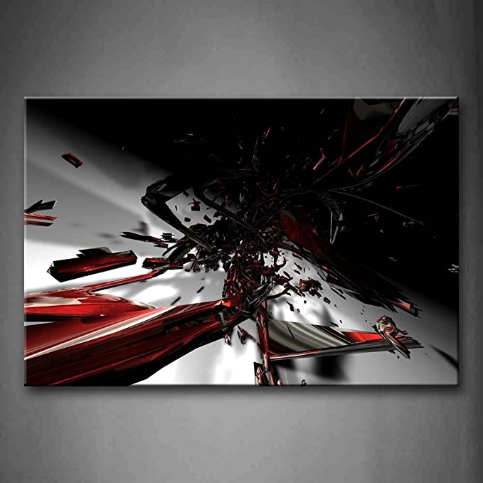 First Wall Art Abstract Fractal Black Red White Wall Art Painting The Picture Print On Canvas Abstract Pictures For Home Decor Decoration Gift Posters Prints Amazon Com