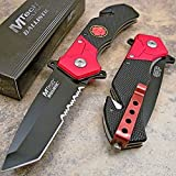 Mtech Fire Fighter Red Black Tanto Tactical Rescue Pocket Knife Review