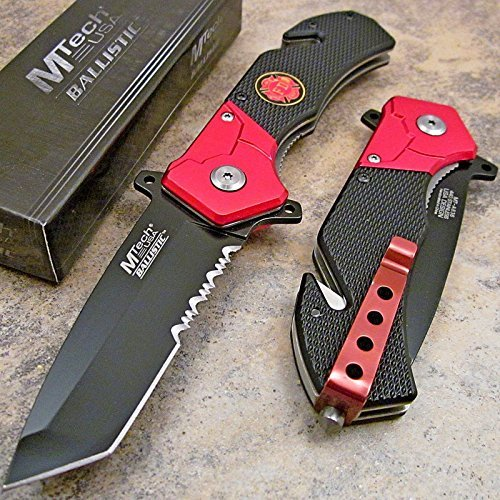 Tanto Rescue Knife - Mtech Fire Fighter Red Black Tanto Tactical Rescue Pocket Knife