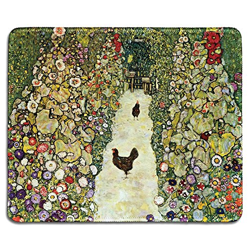 dealzEpic - Art Mousepad - Natural Rubber Mouse Pad with Famous Fine Art Painting of Garden with Roosters (Chickens) by Gustav Klimt - Stitched Edges - 9.5x7.9 inches