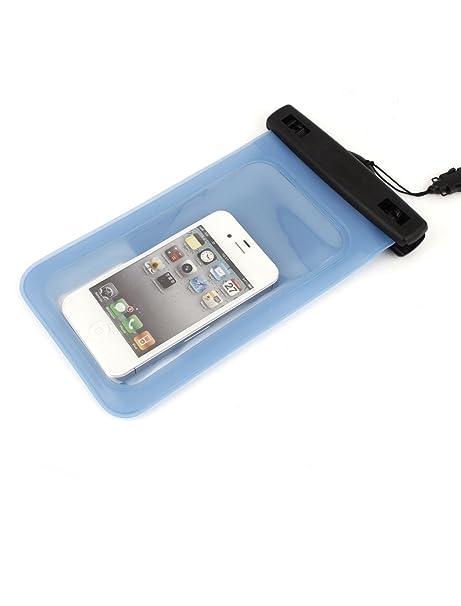Amazon.com: eDealMax Caso claro impermeable subacuático Azul Para Los teléfonos celulares w cuerdas de Nylon: Electronics