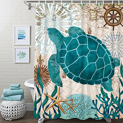 Bathroom Shower Curtain Sea Turtle Ocean Creature Landscape Shower Curtains Fabric Bathroom Curtain Durable Waterproof and Mildew Resistant Bath Curtain Sets with 12 Hooks