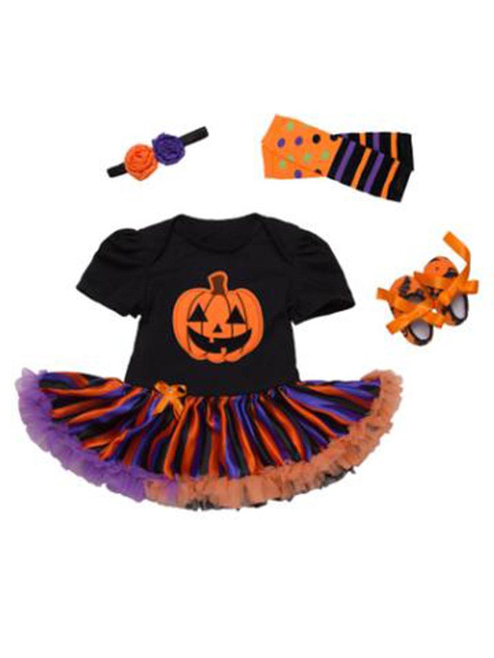Neonata Appena Nata Pumpkin di Halloween Gonna Pagliaccetto Tutu Romper + Fascia + Scarpa + Calze 4pcs Imposta Abitini