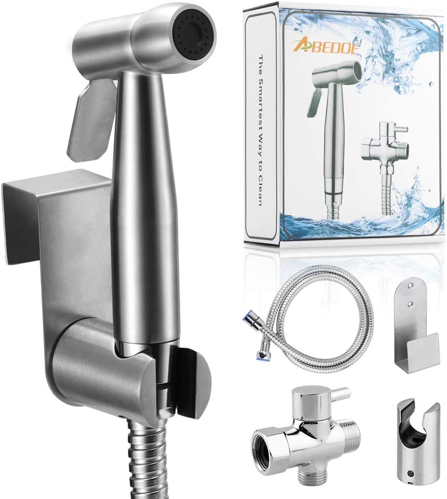 Abedoe Hand Held Bidet Toilet Sprayer Kit Bathroom Cloth Diaper Washer Portable Shower Sprayer Stainless Steel Spray For Personal Hygiene