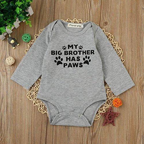 Newborn Baby Boy onsie MY BIG BROTHER HAS PAWS Print Romper Jumpsuit Vibola