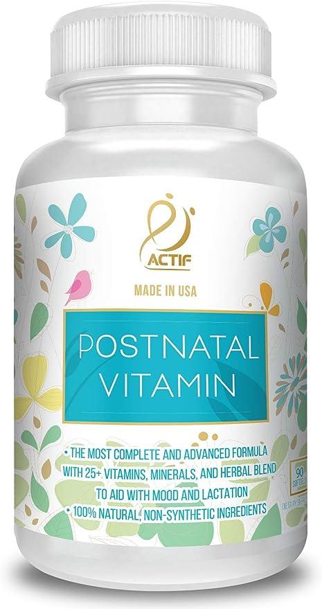Amazon.com: Actif Organic Postnatal Vitamin with 25+ Organic Vitamins and  Organic Herbs, Nursing and Lactation Supplement, Non-GMO, Made in USA, 90  Count: Health & Personal Care