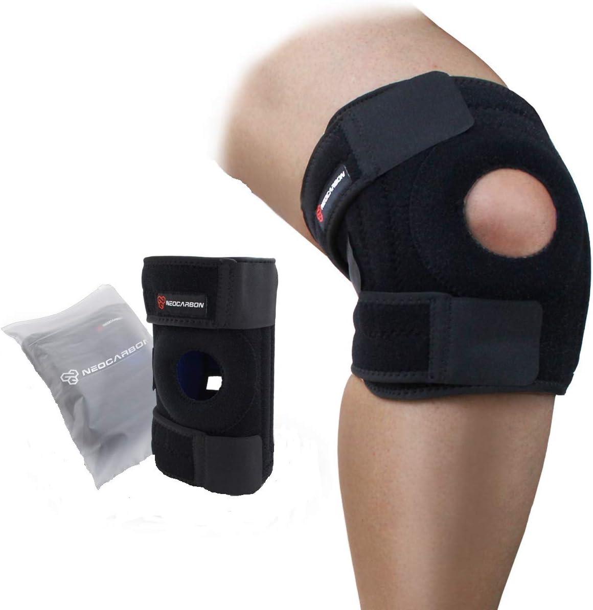 NeoCarbon rodillera de apoyo completo, anillo de compresión estabilidad para la ayuda de recuperación, tendón de patella, menisco y alivio del dolor de tendinitis