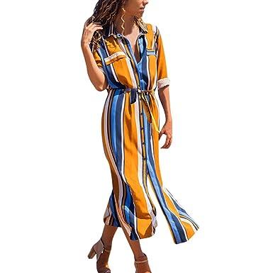 Vestido Largo Fiesta Mujer Primavera Verano 2019 Vestido de Camisa ...