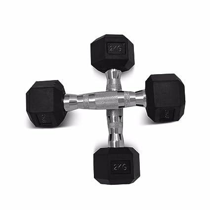 Sporteq Hex Mancuernas con recubrimiento de goma hexagonal con peso (2 unidades x por juego