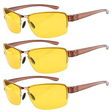 Eyekepper 3 paquete de conducción de gafas de sol día y noche gafas de visión hombres mujeres