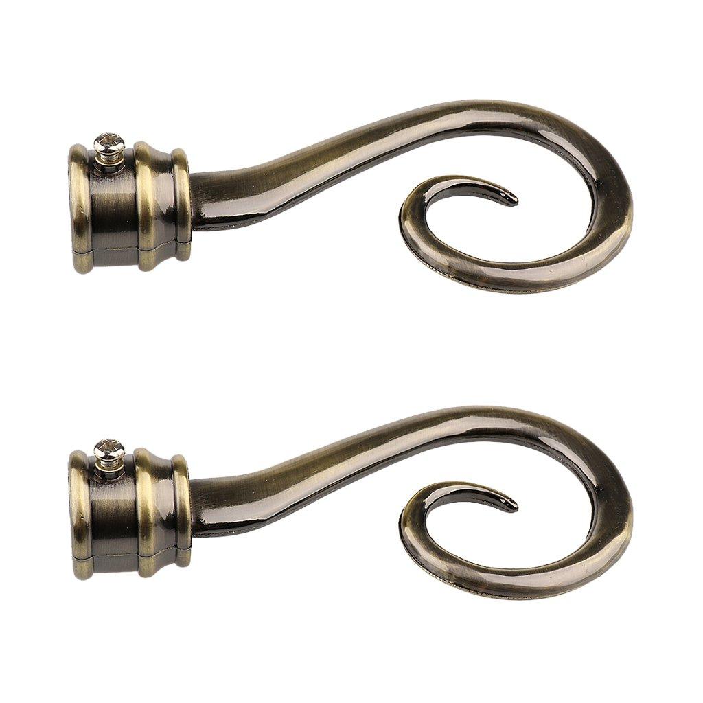 B Blesiya 22mm Dia Drapery Curtain Rods Iron Ends Caps Finials Copper Black Window Treatment Accessories - 2Pcs - 1# Black, as described