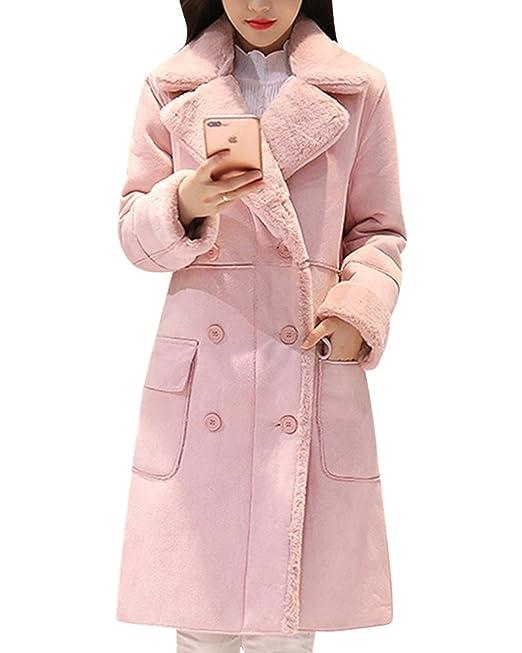 Doble-pecho Chaqueta Espesada De Solapa De Las Mujer Abrigo Con Los Botones Y El Bolsillo Pink Claro L: Amazon.es: Ropa y accesorios