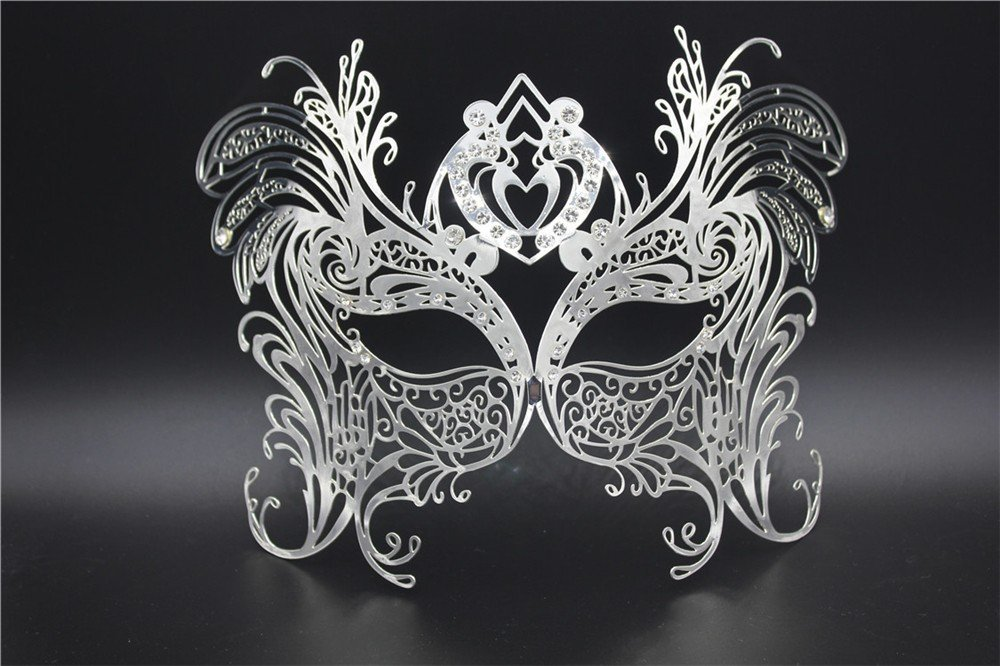 Face mask Shield Veil Guard Screen Domino False Front Halloween Party Party mask high-end Venice Flower Dance Empty Rhinestones Professional Metal mask Enamel Silver