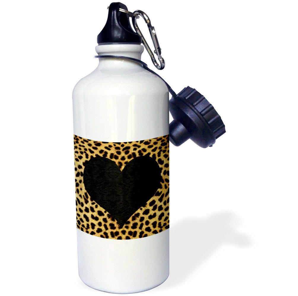 3dRose wb_20394_1 Punk Rockabilly Cheetah Animal Print Black Heart Sports Water Bottle, 21 oz, White
