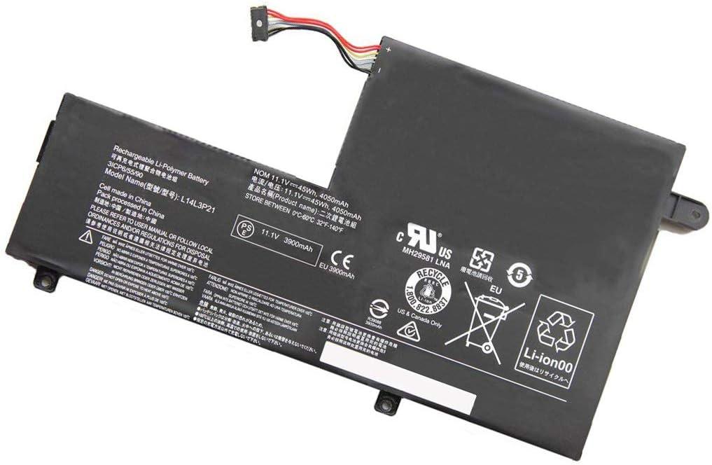 Tesurty L14M3P21 Replacement Battery for Lenovo Flex 3-1470 Flex 3-1570 Edge 2-1580 L14L3P21 [11.1V 45Wh]