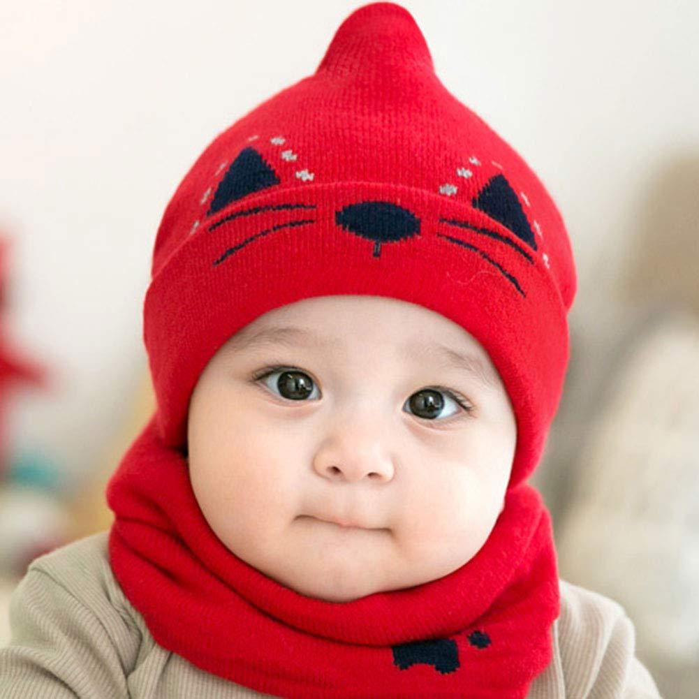 M/&A Newborn Baby Cute Cat Winter Warm Knit Beanie Hat Scarf Set