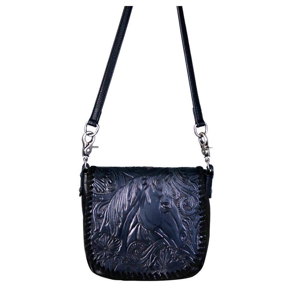 eb0e18dc98 Montana West Leather Cross Body Bag Purse Western Tooled Horse Head SMALL  HANDBAG (Black)  Handbags  Amazon.com
