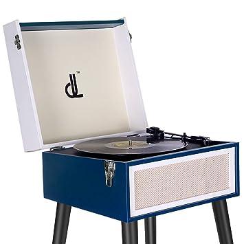 Tocadiscos, Vinyl Turntable de Vinilo DLITIME Record Player de 3 Velocidades con Pata Desmontable Altavoz Bluetooth Grande Incorporado, Entrada ...