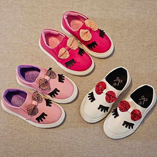 ❆Huhu833 Baby-Art und Weise turnschuh, Mädchen Schuhe im Freien laufende Schuh Bowknot Schüchtern Augen Sneaker Kinder Casual Schuhe Rose rot