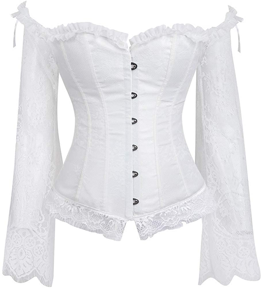 Cocrao Womens Vintage Underbust Corset Gothic Steampunk Overbust Off Shoulder Lace Long Sleeve Corsage Body Schaper