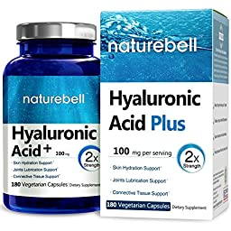 NatureBell Natural Hyaluronic Acid Plus, 100mg, 180 Veg Capsules, Support Skin Hydration & Joints Lubrication