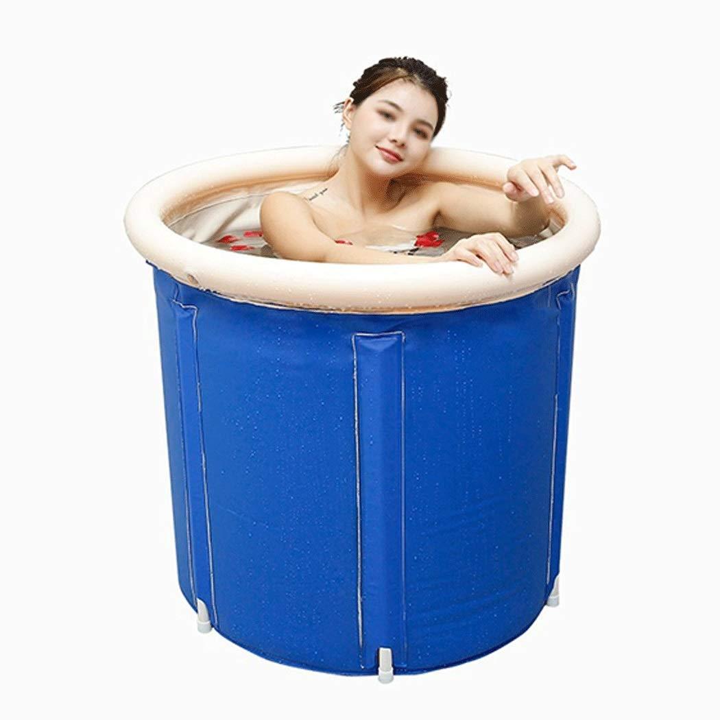 YONGYONG Household Blue Bath Barrel Adult Bath Bucket Folding Large PVC Tub 65cm*65cm, 70cm*70cm (Size : 70cm*70cm)