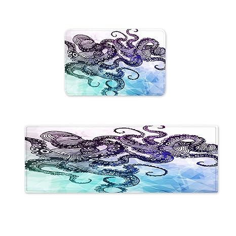 "Goodbath Octopus Kitchen Rugs Set, Ocean Kraken Hipster Non Slip Kitchen  Bathroom Rug Set Floor Mat Carpet Runner, 2 Piece,16"" x 48"" and 16"" x 24"",  ..."