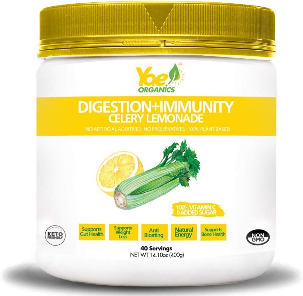 Yae! Organic Celery Juice Powder with Lemonade for Digestion and Immunity 100% Organic Celery Powder Lemonade, Non GMO Gluten Free Vegan, Superfood Powder (14.1oz/ 40 Servings)