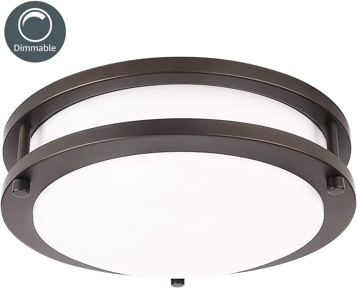 LE LED Flush Mount Ceiling Light, 10.5 inch Oil Runbbed Bronze Ceiling Light Fixture Dimmable, 1200lm 16W (120W Equivalent) Ceiling Lamp for Kitchen, Bedroom, Laundry, Living Room Hallway, 4000K White