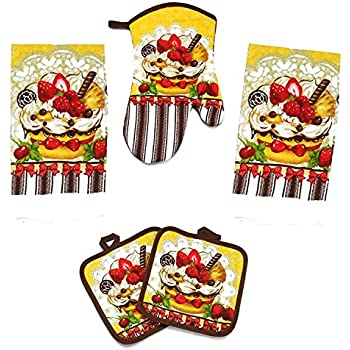 Kitchen Towel Set 5 Piece Towels Pot Holders Oven Mitt U0026 Dishcloth  Decorative Design Everyday Use
