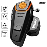 Veetop® Interfono moto /Interfono moto bluetooth 800m Impermeabile,compatibile con caschi, telefoni cellulari walkie talkie lettori di musica A2DP GPS Radio FM. Caricabatterie inglese(UK)