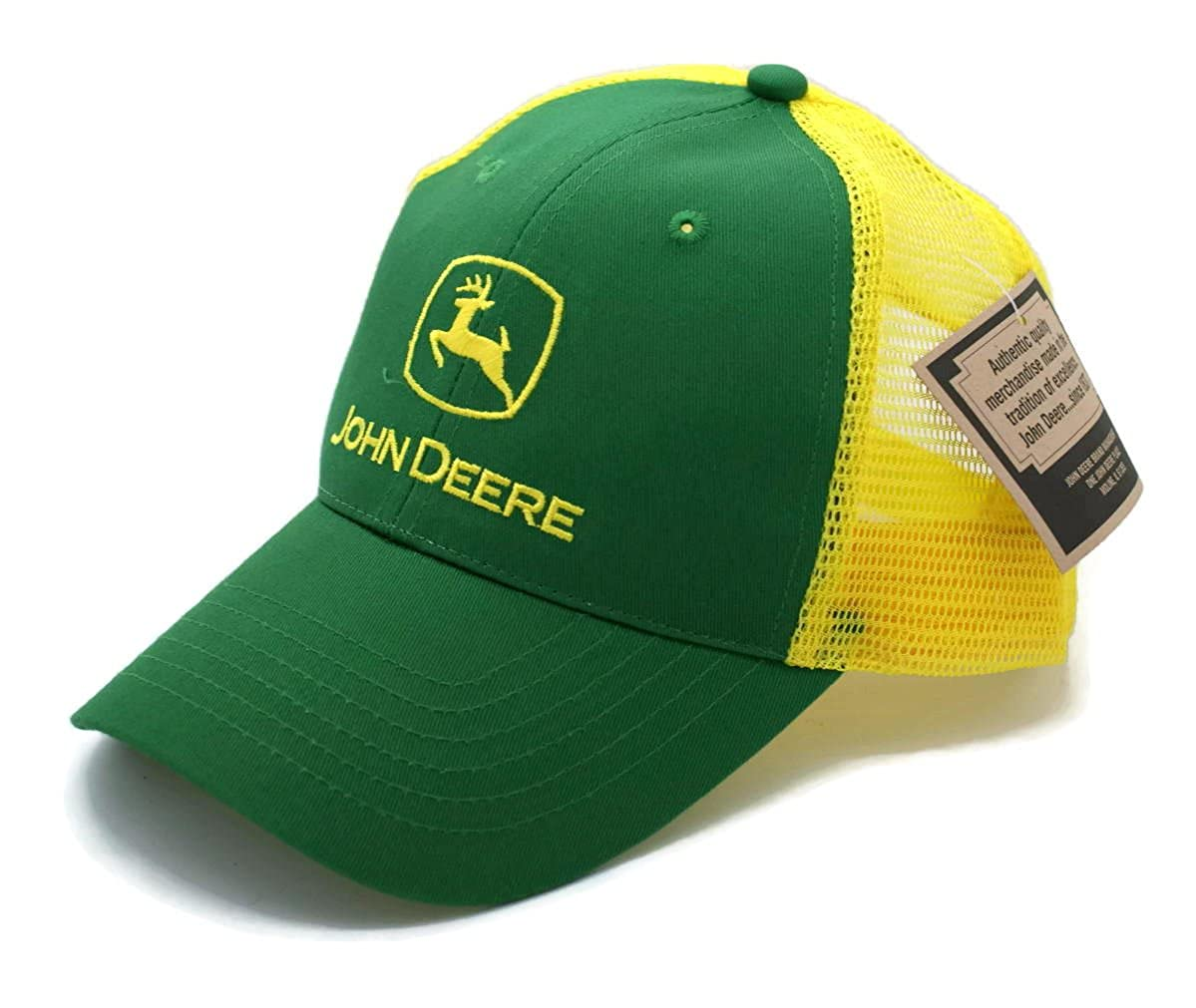ae486f1f229 Hat - John Deere Vented Trucker Style Adjusable Ball Cap at Amazon Men s  Clothing store