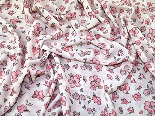 Floral Print Polyester Georgette Dress Fabric Cream & Pink - per metre