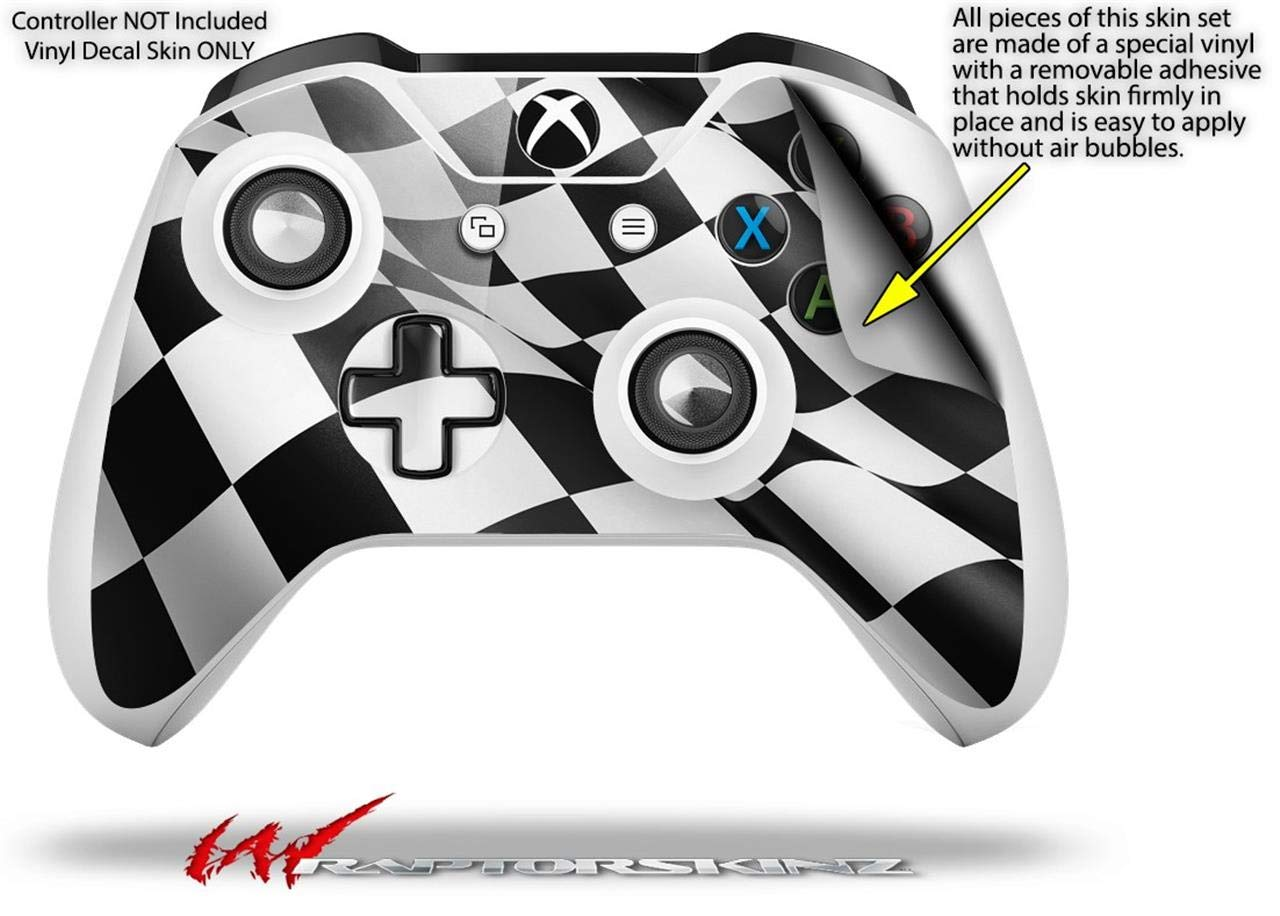 WraptorSkinz Decal Skin Wrap Set works with 2016 and newer XBOX One S / X Controller Checkered Racing Flag (CONTROLLER NOT INCLUDED)
