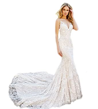 c026a30854c7d WeddingDazzle Sexy Spaghetti Straps Mermaid Wedding Dresses 2018 Bridal  Gowns at Amazon Women s Clothing store