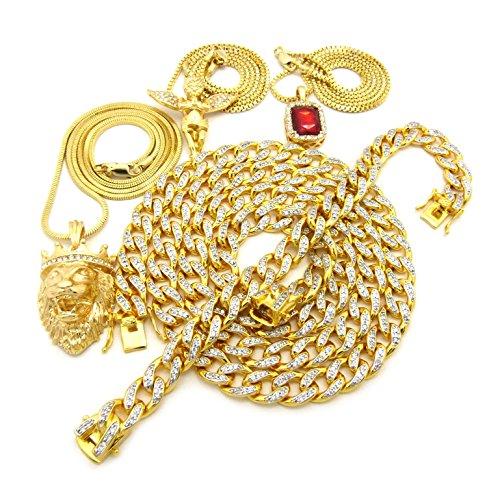Colliers à pendentifs de Faux Rubis, d'Ange en prière et du Roi Lion, avec bracelet assorti - Bracelet et un collier plaqués or avec Zircons cubiques