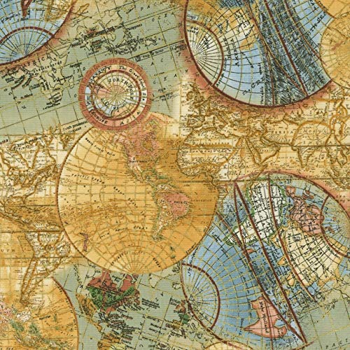(Library~World Map~Globe Metallic Cotton Fabric by Timeless Treasures)
