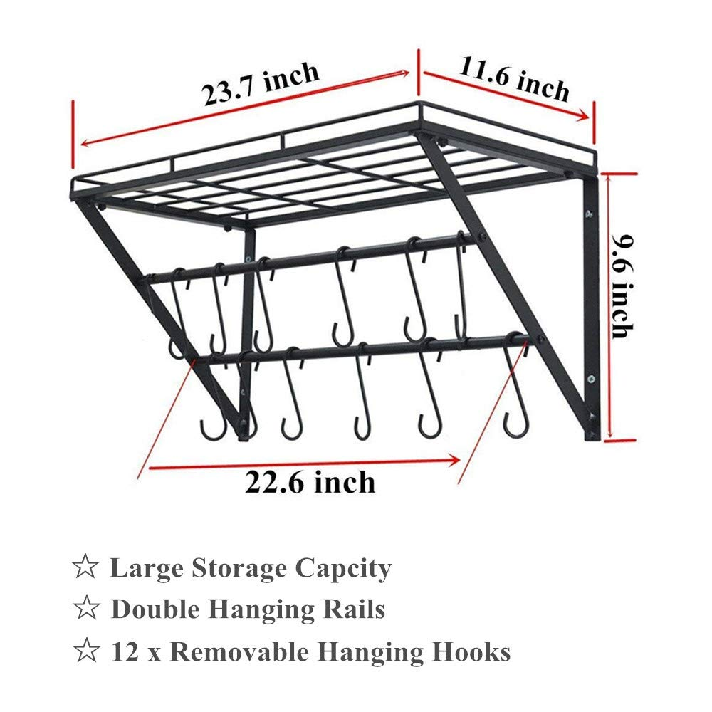 Oropy Wall Mounted Pot Rack Storage Shelf with 2 Tier Hanging Rails 12 S Hooks included, Ideal for Pans, Utensils, Books, Plant Black by OROPY (Image #4)