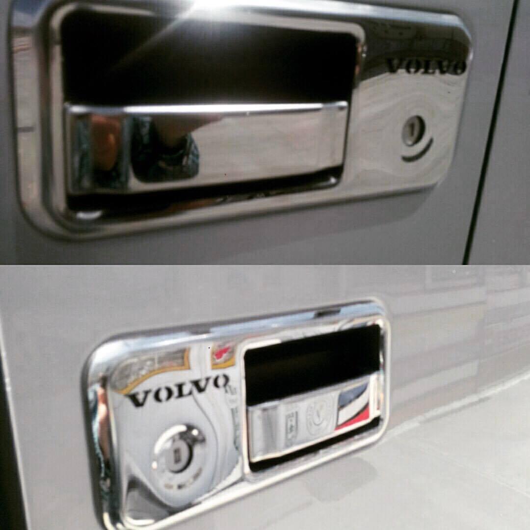 2 unidades cromadas de acero inoxidable con efecto espejo para coche Fundas decorativas para manecilla de puerta 3D