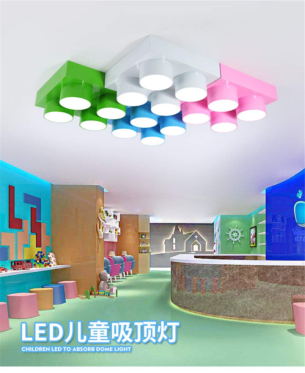 Personalidad Creativa Lego Bloques LED Acrílico Dormitorio Decorar Luces de Techo, Perfect Family Kids Christmas Gifts, Pink -80 * 40 * 9cm