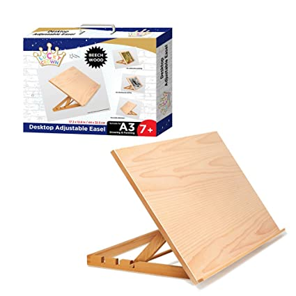 LUCKY CROWN US Art Adjustable Wood Desk Table  Light Weight, Easel With  Strong Support