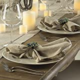 Natural Beige, Classic Tuscany Hemtitch Design 20 Inch Square Napkins (6 Piece Set)
